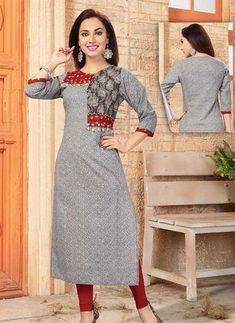 Grey Color Cotton Printed Round Neck Kurti