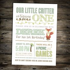Little Critter Woodland Birthday invitation for a boy- Perfect for a fall or summer outdoor birthday party idea- First Birthday