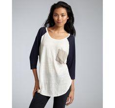 Alternative Apparel ivory and indigo linen raglan baseball t-shirt | BLUEFLY up to 70% off designer brands