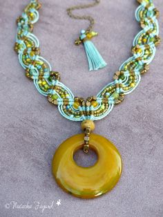 Boho chic macrame necklace, agate donut, jade and seed beads and polyester weaving. Piece of a french bohemian style set. Hand made and designed in