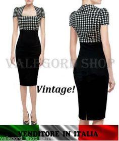 Abito-PIED-de-POULE-PINUP-vintage-retro-50-elegante-Vestito-tubino-dress-robe