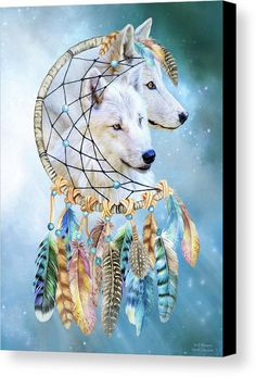 Wolf Dreams fine art canvas print featuring the art of Carol Cavalaris.