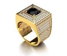 Anel onix diamante masculino