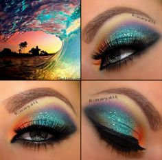 rainbow, wave, makeup, eyeshadow, blue, purple, orange, yellow, bronze, black, tropical