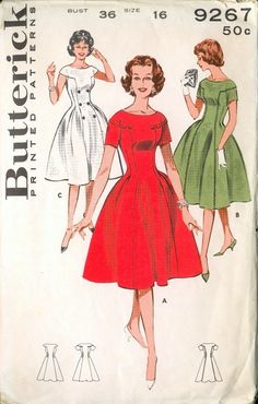 Items similar to Uncut Vintage Princess Dress Pattern Butterick 9267 Size 12 Bust 32 on Etsy Vintage Outfits, Vintage Dresses 50s, Vintage Dress Patterns, Clothing Patterns, 1950s Style, 1950s Fashion, Vintage Fashion, Princess Dress Patterns, Vestidos Retro