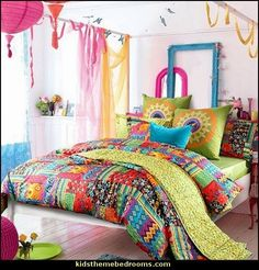 Bohemian Exotic bedding,Colorful Modern Duvet Cover  Boho Style Decorating - Boho decor - Bohemian bedding - boho chic decor - boho theme decorating ideas - boho gypsy decorating style - Bohemian theme decorating ideas - bohemian chic bedroom - Gypsy style Boho Boutique
