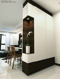Marvelous Useful Tips: Room Divider With Tv Entertainment Center room divider cabinet storage ideas.Portable Room Divider Wall room divider furniture how to build. Living Room Partition, Living Room Divider, Room Divider Walls, Room Partition Designs, Partition Ideas, Bedroom Divider, Bedroom Wall, Latest Cupboard Designs, Home Interior Design
