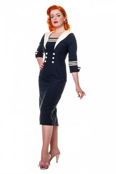 Collectif Clothing - Collectif Clothing - Louise Sailor pencil dress in navy