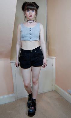 90s Grunge Sporty Spice Grey Button Up Crop Top S