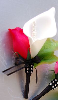 Not hot pink, but these are too cool. Hot Pink Rose Bud,Calla Lily,Man Boutonniere,Wedding,Prom. Silk flower