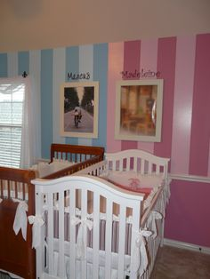 I love the shared nursery for twins, even though I'd prefer gender neutral for my own children, I know not everyone feels the same (though Madeline is at the top of my baby girl list. Great literary baby name)! Baby Girl Room Decor, Baby Nursery Diy, Nursery Twins, Baby Decor, Nursery Room, Kids Bedroom, Nursery Ideas, Room Ideas, Baby Rooms