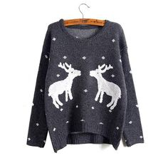 2016 New Winter And Christmas Women Reindeer Sweater Female Deer Fashion Thicken Pullovers Lady Knitted Cotton Sweaters 000