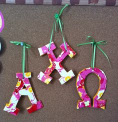 axo lilly print letter ornaments!