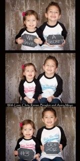 so cute way to announce new baby. They are hiding the front of their shirts which say big brother and big sister.