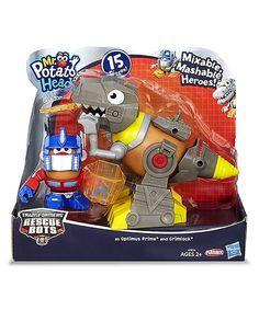 This Mr. Potato Head Optimus Prime & Grimlock Mash-Up Figure Set by Hasbro is perfect! #zulilyfinds