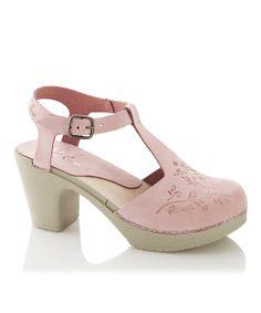 Pink Floral Maya Leather T-Strap Clog Sandal
