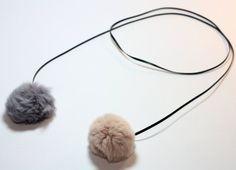 Fur Pom Pom Necklace, Rabbit Fur Pom Pom