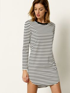 32d7f6ef0e86 Online shopping for White Long Sleeve Striped Dress from a great selection  of women s fashion clothing   more at MakeMeChic.