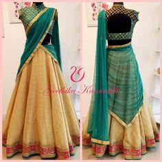 21 Half Saree Color Combinations That You Didnt Think of Earlier Keep Me Stylish Lehenga Saree Design, Half Saree Lehenga, Saree Look, Lehenga Designs, Saree Dress, Saree Blouse Designs, Indian Lehenga, Indian Gowns Dresses, Indian Fashion Dresses