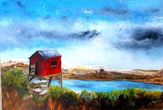 Artwork >> Bernadette Malecki >> The cabin #artwork, #masterpiece, #color, #bright, #painting, #nature, #sky, #river