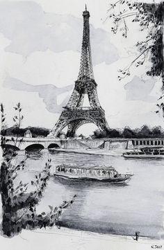 """Paris reproduction, """"La Tour Eiffel et la Seine"""" - Aquarelle paris, Peinture Tour Eiffel, Impression Eiffel Tower Drawing, Eiffel Tower Painting, Eiffel Tower Art, Colorful Paintings, Watercolor Paintings, Paris Drawing, Art Parisien, Paris Painting, Painting Art"""
