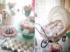 Vintage Pastel Baby Christening ideas, dessert table and baby stroller decor