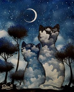 """Raphaël Vavasseur Art — """"When the night comes"""" Art And Illustration, I Love Cats, Crazy Cats, Animal Gato, Image Nature, All About Cats, Cat Drawing, Cat Art, Kitsch"""