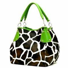 Green Accent Giraffe Print Purse