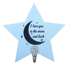 Kapstok ster Love you to the moon lichtblauw