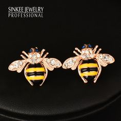 Find More Stud Earrings Information about Fashion  Jewelry Cute Solid Little Bee Animal Stud Earring  For Women Girl Gifts 18K Rose Gold Plated ES774,High Quality earrings cluster,China earring stone Suppliers, Cheap earring diamond from SINKEE JEWELRY Store on Aliexpress.com