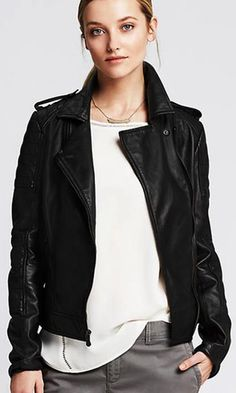Quilted leather makes our moto jacket ultra-luxe.