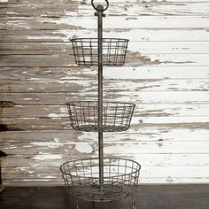 Large Distressed 3 Tier Wire Basket