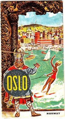 Oslo Norway Vintage Map 1960s Shell Gas Vintage Brochure