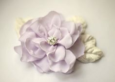 Purple Flower Hair Piece Lilac - Rhinestone Chiffon Floral Headpiece - Bridal Accesory Modern Wedding - Vintage Velvet Leaves Something Old