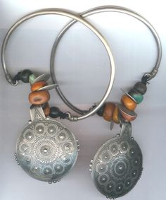 Africa, Earrings, large hoops with amber, amazonite coins and entaglio large disks from Tiznit Morocco late 19th c