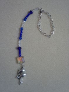 Handmade Blue & Clear Beaded Double Dolphin Charm Rear View Mirror Ornament