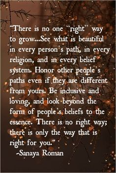 """There is no one """"right"""" way to grow ... See what is beautiful in every religion, and in every belief system.  Honor other people's paths even if they are different from yours.  Be inclusive & loving, and look beyond the form of people's beliefs to the essence.  There is no right way; there is only the way that is right for you."""