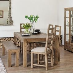 Cotswold Reclaimed Wood Dining Chair with padded seat -  Modish Living Dining Chairs