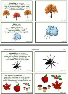 Gratis sångkort om hösten! Swedish Language, Pre School, Crafts For Kids, Education, Creative, Printables, Halloween, Music, Crafts For Children