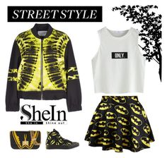 """""""Batman Street Style"""" by monkichiluph ❤ liked on Polyvore featuring The Textile Rebels, Converse, Valentino, StreetStyle, batman and shein"""