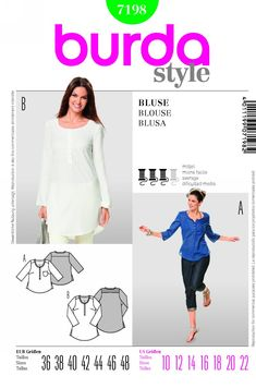 Sew lovely blouses for the summer, with round necklines and a button panel in the front. Ornamental details like the tiny pocket, rounded hem and inserted gussets deserve closer attention. A Burda Style sewing pattern. Burda Sewing Patterns, Blouse Patterns, Clothing Patterns, Sewing Ideas, Style Patterns, Sewing Projects, Shirts & Tops, Dress Making Patterns, Vogue