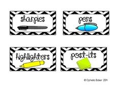 Black Chevron Teacher Toolbox Labels - These are intended to be used on the 22 drawer stack on containers from Home Depot or Lowes. (ALL pictures are from Google Images)Enjoy!! :)