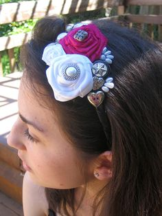 Flower Girl Wedding Headband  Black , White and Fuschia by handartdesignstudios, $25.00