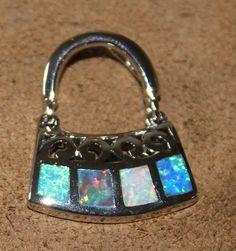 fire opal necklace pendant Gemstone silver jewelry unique cute purse design H63E  | eBay