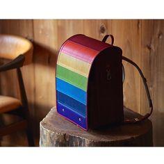 School Bag for my daughter  #bespoke #ordermade #leatherwork #leathercraft #rainbow #schoolbag #randoseru #bagmaking #shrunken_calf #niwaleathers #ランドセル by niwa_leathers