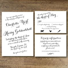 """This listing is for a PRINTABLE 5""""x 7"""" invitation, 3.5""""x 5"""" rsvp card, and 3.5x5 information card from the Charlotte suite for you to print at"""