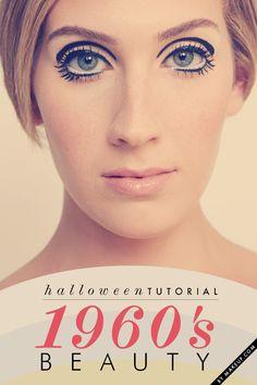 Halloween Tutorial: Beauty mod makeup tutorial // the perfect Twiggy halloween cos Mod Makeup, 1960s Makeup, Twiggy Makeup, Day Eye Makeup, Hair Makeup, Crazy Makeup, Makeup Art, Make Up Tutorials, Beauty Tutorials