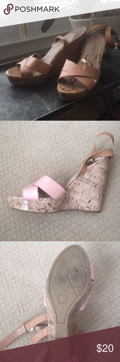 Size 9 cork wedge heels excellent condition! These crock wedge heels are very comfortable and in perfect condition. I have only worn them once. They are a true size 9 and have a brown leather ankle strap. The toe strap is a light pink and resembles a snake skin pattern. Feel free to make any offers! Sam and Libby Shoes Wedges