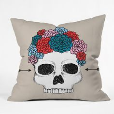 Wesley Bird Florita Throw Pillow | DENY Designs Home Accessories #skull #flower #crown