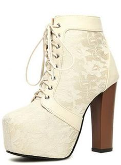 White Lace Chunky Heel Ankle Boots S008126,  Shoes, White Lace Chunky Heel Ankle Boots, Chic